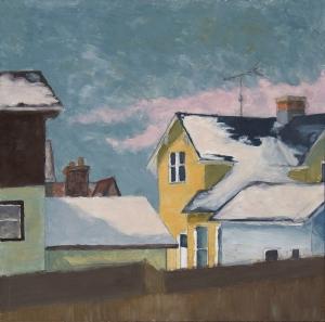 Wintery Window View, oil on hardboard, 12x12in., 2012