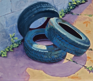 Tires, 28 x 24 in., oil on plywood, March 2015