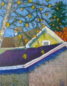 Yellow House with Birch, Oil Pastel on Canvas, 8 x10, 2014