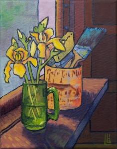 Still Life with Irises, Oil on Canvas, 8x10, 2012