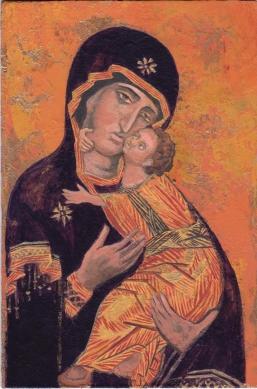 Study after Virgin of Vladimir, acrylic on masonite, 4x6, 2014.