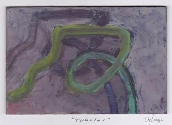 """""""Tubular,"""" oil on masonite, 4x6 2015"""