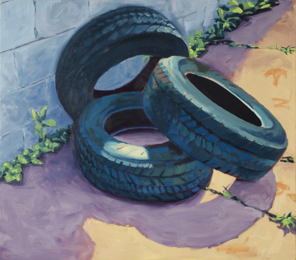 Tires, oil on birch panel, 24in x 28in Liz Ann Lange