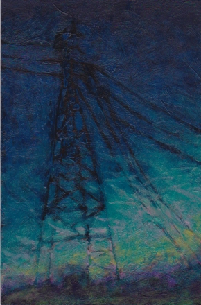 Powerlines, acrylic on hardboard, 4 x 6 inches, June 2015