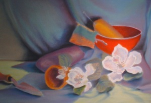 Still Life with Magnolias, pastel on paper, 2008