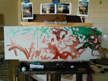 work in progress, the humble beginnings of my Treelight II Triptych