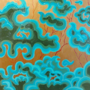 Thangka Trees, one of the 12x12in paintings in the 12I12I12 show